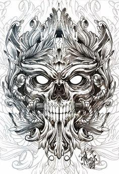 Skulls by Andrey Popov, via Behance