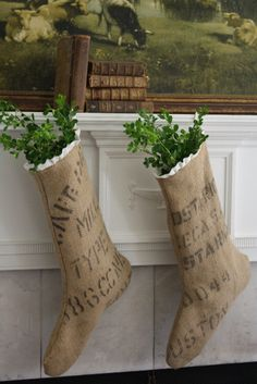Burlap stockings... customize for your family with stencils and a sharpie. (Name, nick name, birth date all fun ways to make them unique)