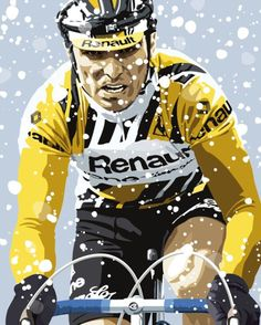 Bernard Hinault on the way to winning the epic 1983 Liège–Bastogne–Liège in a print taken from The Legend Drawn by Bernard Hinault.