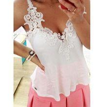 Sexy Girls verão mulheres blusa de renda branca V profundo Vest camisas Tops(China (Mainland))