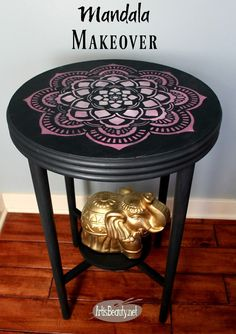 boho chic mandala stenciled table makeover artwork diy furniture makeover gray pink and white eclectic decor
