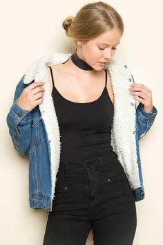 Brandy ♥ Melville | Anri Fur Denim Jacket - Jackets - Outerwear - Clothing
