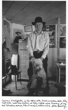 Lawrence Ferlinghetti in his office with pooch, Whitman photo, files, coat racks, book bags, posters, at City Lights up on balcony, B'...