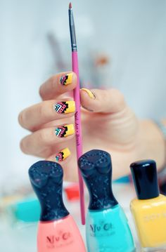 Spring tribes nail art.