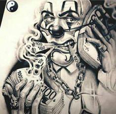 Tattoo Design Drawings, Tattoo Sleeve Designs, Sleeve Tattoos, Chicanas Tattoo, Clown Tattoo, Cholo Art, Chicano Art, Tattoo Chicana, Gangster Tattoos