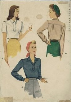 An original ca. 1943 McCall's Pattern 5306.  Pullover flatfell seam yoked blouse with back release pleats has notched convertible collar and front band placket with a button and loop closing at the neck and left front patch pocket, shaped hem with side vents. View A with long set-in sleeves gathered to sleeve bands fastened with link buttons (directions included). View B with short set-in sleeves. Topstitch trim.