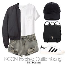 """Inspired Outfit for KCON: Yoongi"" by btsoutfits ❤ liked on Polyvore featuring AR SRPLS, T By Alexander Wang, adidas and Proenza Schouler"
