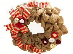 CANDY CANE BURLAP Wreath Christmas Wreath by PomPomFairytale