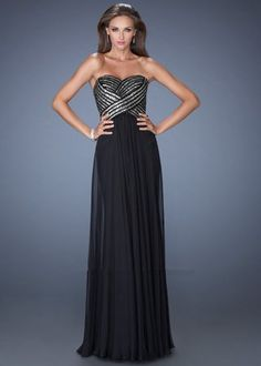 Long Black Criss Cross Sequin La Femme Prom Dress 19321