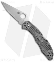 "Spyderco Delica 4 Knife Flat-Ground Gray FRN (2.88"" Satin Plain) C11FPGY"