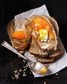 Whole grain bread with peach preserves and butter by Claudia Totir on 500px