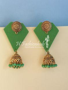 Diy Fabric Jewellery, Thread Jewellery, Lace Jewelry, Jewellery Earrings, Textile Jewelry, Jewelry Crafts, Jewelery, Silk Thread Earrings, Fabric Earrings