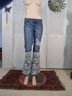 Low Waist Jeans Lace Denim Jeans Flair Bell Bottoms Upcycled Lace Lace Butterfly Patched Blue Jeans Size 7 Jeans Hippie Jeans Boho by LandofBridget on Etsy https://www.etsy.com/listing/234222521/low-waist-jeans-lace-denim-jeans-flair