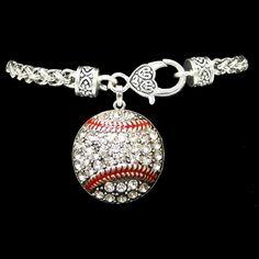Baseball Rhinestone Charm Bracelet