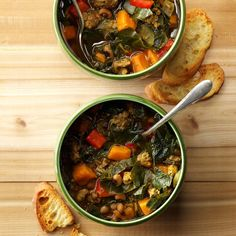 The South in a Pot Soup Recipe -With black-eyed peas, sweet potatoes, ground beef and comforting spices, this soup has every wonderful memory from my childhood simmered together in one tasty pot. —Stephanie Rabbitt-Schapp, Cincinnati, OH