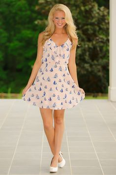 Captain Of The Seas Dress-Pale Peach - What's New