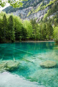 Blausee 'The Blue Lake', Kander Valley, Switzerland