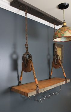 Matching Hay Pullies #Repurposedfurniture Repurposed Furniture, Wood Furniture, Pulley Light, Hanging Wine Rack, Barrel Projects, Shop Display Stands, Home Projects, Farmhouse Decor, Decoration