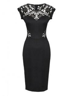Elegant Sleeveless Lace Waist Black Dress Slim Dress