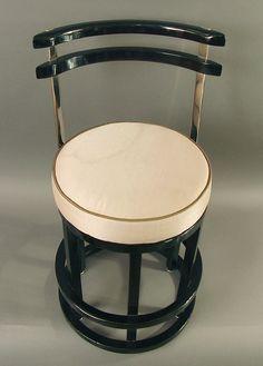 1stdibs.com   Four Art Deco Black Lacquered & Chrome Bar Stools, Chair Height