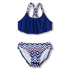 Girls' 2-Piece Bandeau and Aztec Print Bottom Bikini Set - Deep Blue L