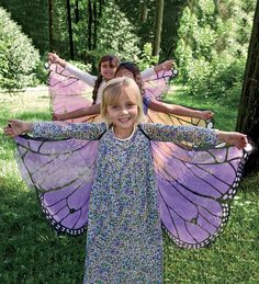 Fanciful Butterfly Wings The wings are trimmed with sparkly glitter,  have shoulder straps & have finger tabs so children can slip them on and spread their wings - think these could be made with sheer fabric & permanent markers or fabric paint.