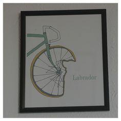 Print at a bike enthusiasts' café in Bruichladdich, Islay