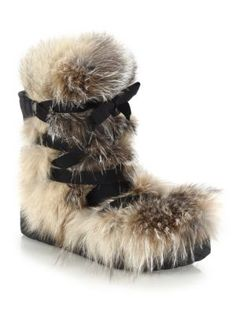 Moncler - Zoe Fox Fur, Suede & Leather Lace-Up Boots