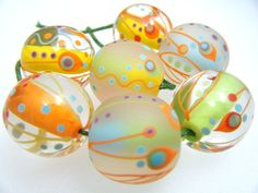 Moogin  summer citrus retro round lampwork bead set by mooginmindy, £49.00