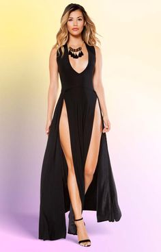 19d961e8d4 Influencer Front Slit Maxi Gown. Stunning A lister style long gown to wear  out on