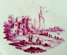 KPM Berlin Durchbruchteller, Kauffahrtei-Szene in Purpur Camaieu um 1800 #3 in Antiquitäten & Kunst, Porzellan & Keramik, Porzellan | eBay