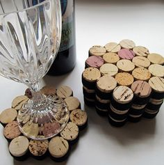 Honeycomb Wine Cork Coasters With Black Ribbon-Set of Four - Wedding Hostess Housewarming Gift - Eco Friendly Home Decor by LizzieJoeDesigns on Etsy Wine Craft, Wine Cork Crafts, Wine Cork Coasters, Wine Cork Projects, Diy Projects, Wine Bottle Corks, Eco Friendly House, Black Ribbon, Craft Gifts