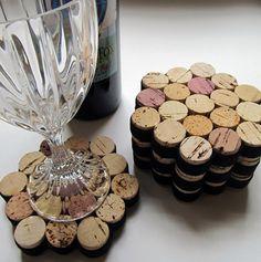 Posavasos de corcho del vino de nido de abeja con cinta negra-Set de cuatro…