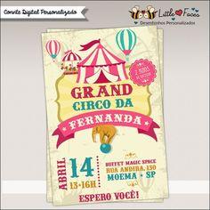 Convite Festa Circo Vintage Menina Digital