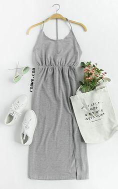 Grey Halter Backless Split Dress Season : Summer Type : Tshirt Pattern Type : Plain Color : Grey Dresses Length : Long Style : Sexy Material : Cotton Blends Neckline : Scoop Neck Silhouette : Sheath