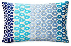 One Kings Lane - Color Your Bed - Megha 14x24 Embroidered Pillow, Aqua
