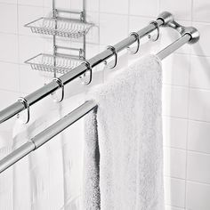 The Shower Curtain/Towel Rack - Hammacher Schlemmer: good way to save space