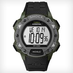 Expedition Shock Chrono Alarm Timer | Timex. Black, gray, dark blue.