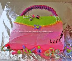 Homemade Girl Purse Cake: This Girl Purse Cake was inspired by the Glitzy girl party supplies, its not an exact match but I thought it went well with the theme. The overall cake