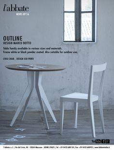 Outline table   Design Marco Botto. Livia chair   Design Gio Ponti. www.labbateitalia.it