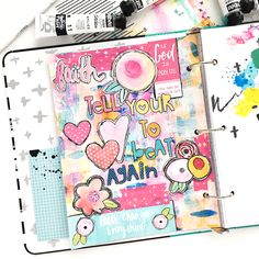 mixed media faith art journal page by Heather Greenwood about her struggle with anxiety and PTSD | Tell Your Heart To Beat Again Danny Gokey | Illustrated Faith Praise Book
