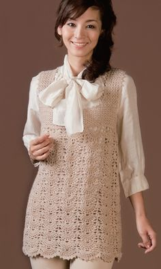 tunic with a picot crochet edging - free crochet diagram pattern Japanese