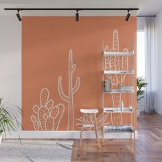 Terracotta cactus illustration white outline art Wall Mural by sziszigraphics Cactus Outline, Outline Art, Palette Wall, Forest Mural, Cactus Illustration, Adventure Nursery, Mural Ideas, Mural Painting, Storage Room
