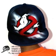 e02b0568b9c Ghostbusters Snapback Hat Airbrushed GRAFFITI hat Custom Hand painted Kids  Baseball Cap Best Personalized with name