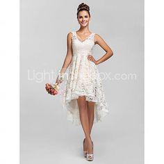 [CAD $ 106.83] A-line/Princess V-neck Asymmetrical Lace Bridesmaid Dress