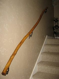 Best Make A Rustic Handrail From A Tree Branch Rustic Stairs 640 x 480