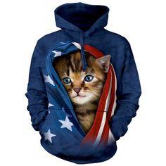 The Mountain PATRIOTIC KITTEN HOODIE Cat USA America Hooded Sweatshirt S-2XL #kittenhoodie #patriotichoodie