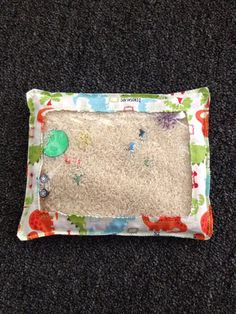 Seek and Find bag--Rice filled toy to play I spy or hide and seek--quiet toy, no mess..