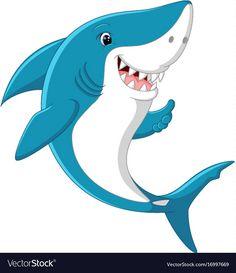Cute shark giving thumb up Royalty Free Vector Image Fish Cartoon Images, Duck Cartoon, Cartoon Fish, Baby Animal Names, Baby Animals, Cute Animals, Baby Hai, Doodle Monster, Fish Icon