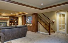 Basement Stairs TV Home Theater